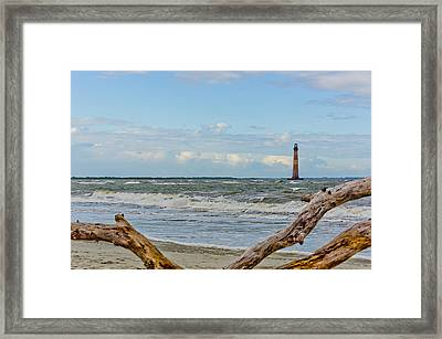 Morris Island Light With Driftwood Framed Print