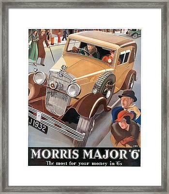 Morris Major 6 - Vintage Car Poster Framed Print by World Art Prints And Designs