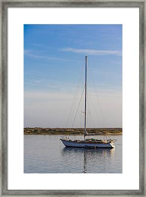 Sailboat At Anchor In Morro Bay Framed Print
