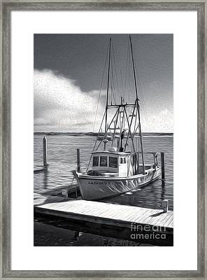 Morro Bay Fishing Boat In Duo-tone Framed Print by Gregory Dyer