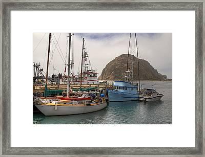 Morro Bay Marina And Rock Framed Print