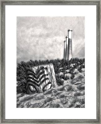 Morro Bay Tiki Head In Duotone Framed Print by Gregory Dyer