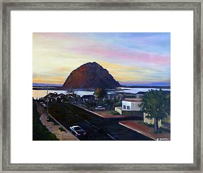 Morro Rock At Night Framed Print