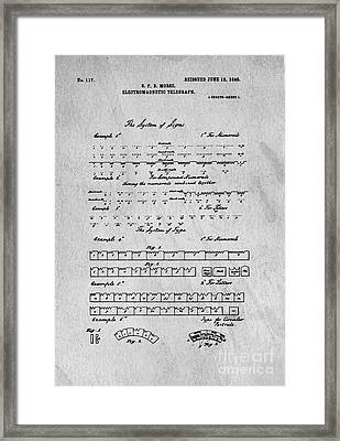 Morse Code Original Patent Framed Print by Edward Fielding