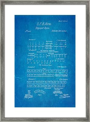 Morse Code Patent Art 1840 Blueprint Framed Print by Ian Monk