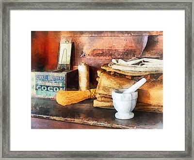 Mortar And Pestle And Box Of Cocoa Framed Print by Susan Savad