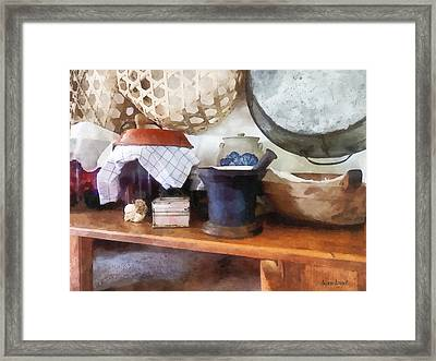 Mortar And Pestle In Kitchen Framed Print by Susan Savad
