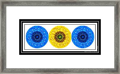 Mosaic Blue Circles With Yellow Framed Print by Barbara Griffin