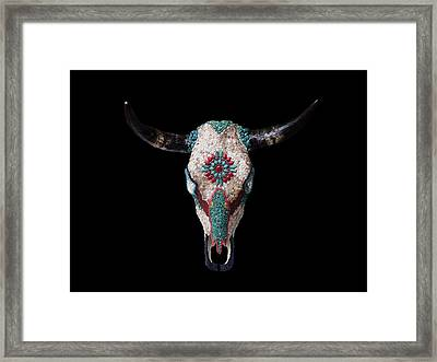 Mosaic Cow Skull Framed Print by Katherine Sutcliffe