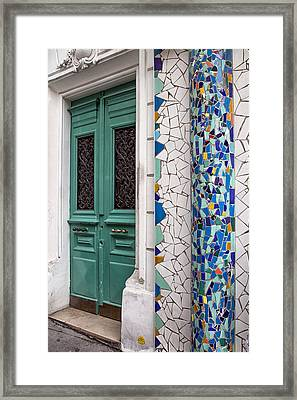 Mosaic Door In Montmartre Framed Print by Georgia Fowler