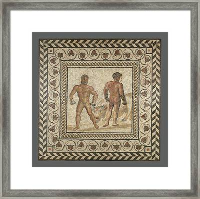 Mosaic Floor With Combat Between Dares And Entellus Unknown Framed Print by Litz Collection