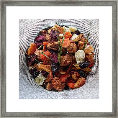 Mosaic Fruity Tea With Bamboo Leaves Square  Framed Print