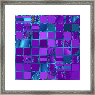 Mosaic In Purple And Teal Framed Print by Judi Suni Hall
