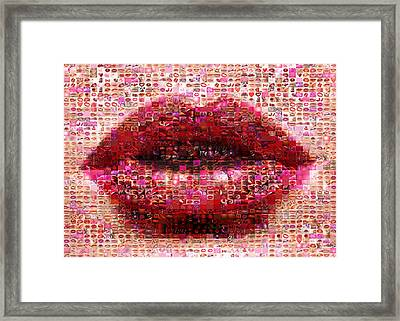 Mosaic Lips Framed Print
