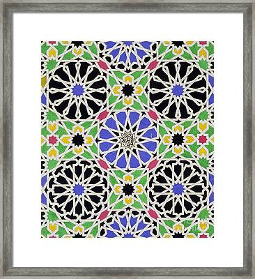 Mosaic Ornament In The South Side Of The Court Of The Lions Framed Print by James Cavanagh Murphy