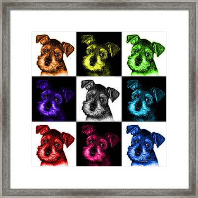 Mosaic Salt And Pepper Schnauzer Puppy 7206 F - V2 Framed Print by James Ahn