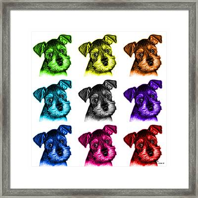 Mosaic Salt And Pepper Schnauzer Puppy 7206 F - Wb Framed Print