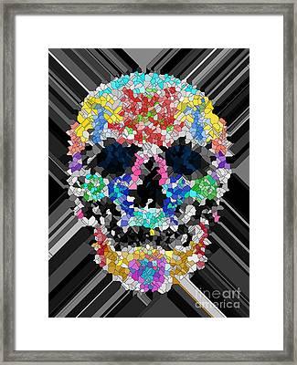 Mosaic Skull Framed Print by Mauro Celotti