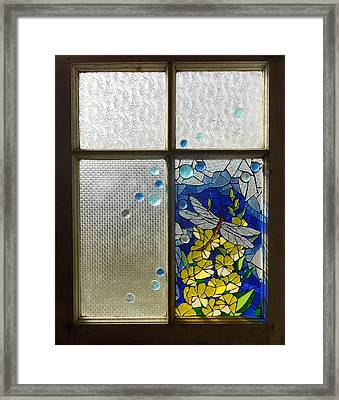 Mosaic Stained Glass - Dragonfly In The Window Framed Print by Catherine Van Der Woerd