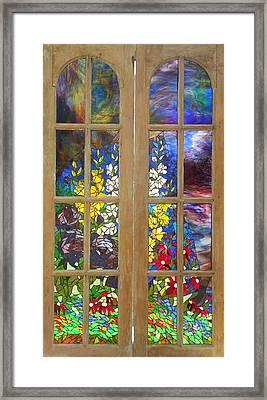 Mosaic Stained Glass - Flower Garden Framed Print by Catherine Van Der Woerd