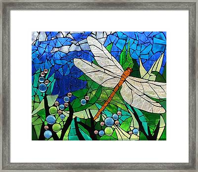 Mosaic Stained Glass - Golden Brown Dragonfly Framed Print