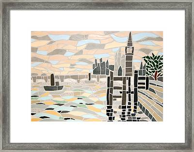 Mosaic View Of The Thames And Big Ben In London Framed Print