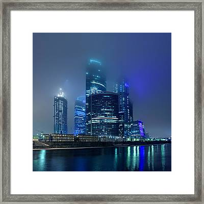 Moscow City In Myst At Night Framed Print