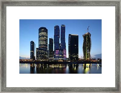 Moscow City Skyline At Dusk Framed Print
