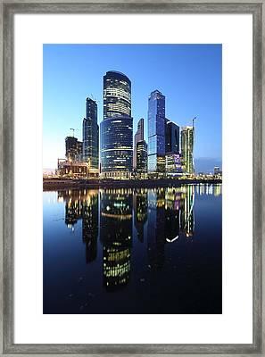 Moscow City Skyline Mirrored Framed Print