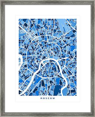 Moscow City Street Map Framed Print