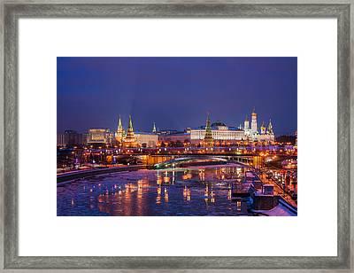 Moscow Kremlin And Big Stone Bridge At Winter Night - Featured 3 Framed Print by Alexander Senin