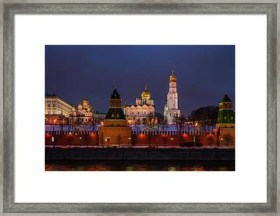 Moscow Kremlin Cathedrals At Night - Featured 3 Framed Print by Alexander Senin
