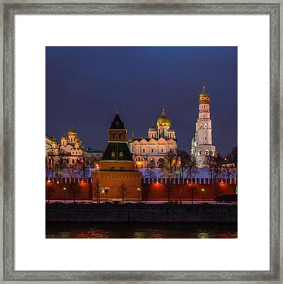 Moscow Kremlin Cathedrals At Night - Square Framed Print
