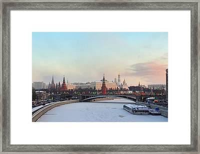 Moscow Kremlin In Winter Framed Print