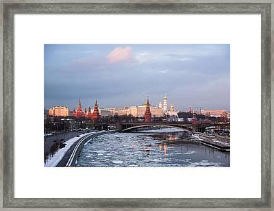 Moscow Kremlin In Winter Evening - Featured 3 Framed Print by Alexander Senin