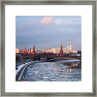 Moscow Kremlin In Winter Evening - Square Framed Print by Alexander Senin