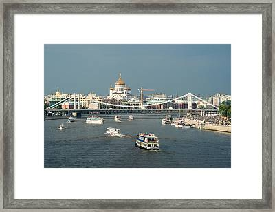Moscow-river Traffic In Summertime - Featured 3 Framed Print by Alexander Senin