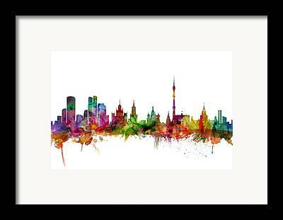 Moscow Skyline Framed Prints