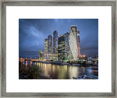 Moscow Skyline At Night Framed Print by Yongyuan Dai
