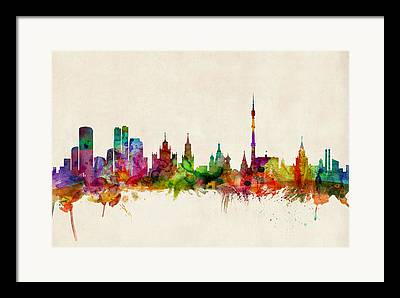 Moscow Skyline Framed Prints