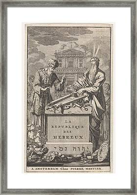 Moses And Aaron Standing Behind An Altar Framed Print by Jan Luyken And Pieter Mortier