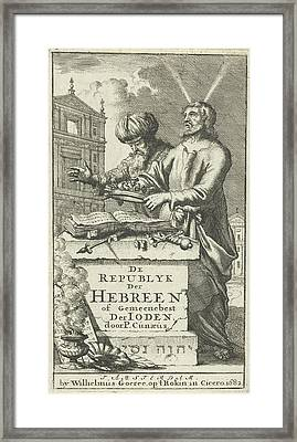Moses And Aaron Standing Behind An Altar Framed Print by Jan Luyken And Willem Goeree