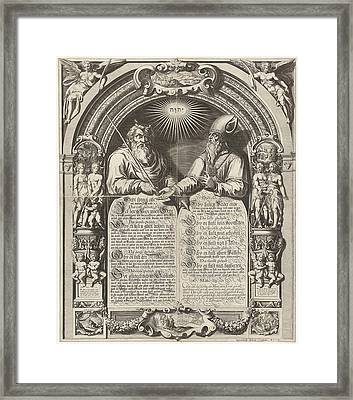 Moses And Aaron With The Tablets Of The Law Framed Print