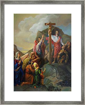 Framed Print featuring the painting Moses And The Brazen Serpent - Biblical Stories by Svitozar Nenyuk