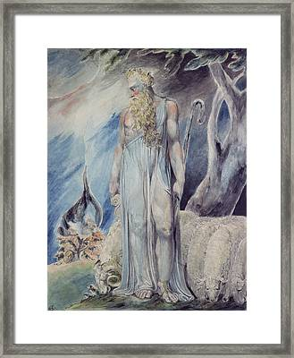 Moses And The Burning Bush Framed Print by William Blake