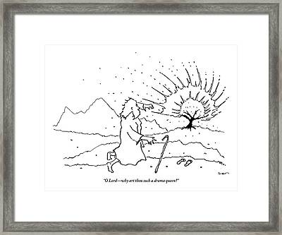 Moses Comments While A Tree Burns In The Distance Framed Print