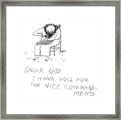 Moses Engraves Dear G-d Framed Print by Edward Steed