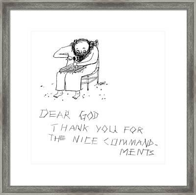 Moses Engraves Dear G-d Framed Print