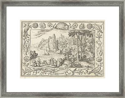 Moses Is Found By The Daughter Of The Pharaoh Framed Print by Adriaen Collaert And Hans Bol And Eduwart Van Hoeswinckel