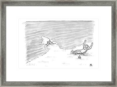 Moses Is Laying On A Beach Chair Parting The Sea Framed Print by Paul Noth